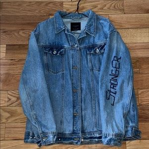 Zara Denim Jacket with Patches and Studs Oversized